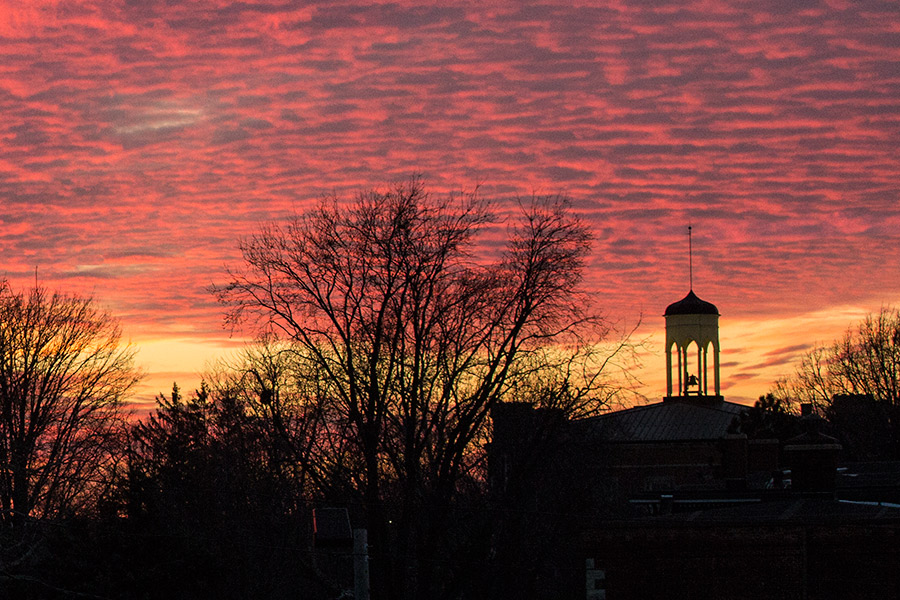 This image has an empty alt attribute; its file name is sunset-bell-tower-109551.jpg